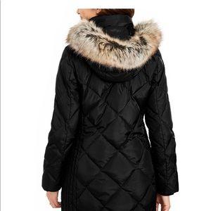 London Fog Hooded Faux-Fur Trim Puffer Coat